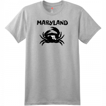 Maryland Crab State T Shirt Ash Hanes Nano 4980 Ringspun Cotton T Shirt