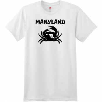 Maryland Crab State T Shirt White Hanes Nano 4980 Ringspun Cotton T Shirt