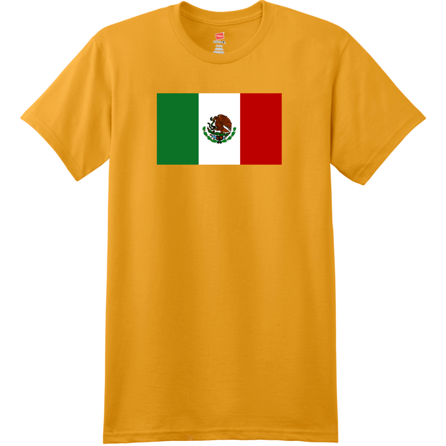 Mexico Flag T Shirt Gold Hanes Nano 4980 Ringspun Cotton T Shirt