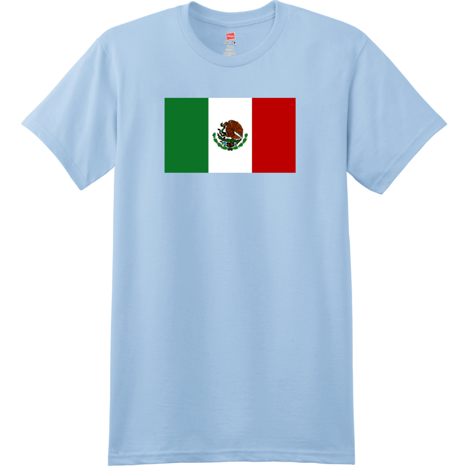 Mexico Flag T Shirt Light Blue Hanes Nano 4980 Ringspun Cotton T Shirt