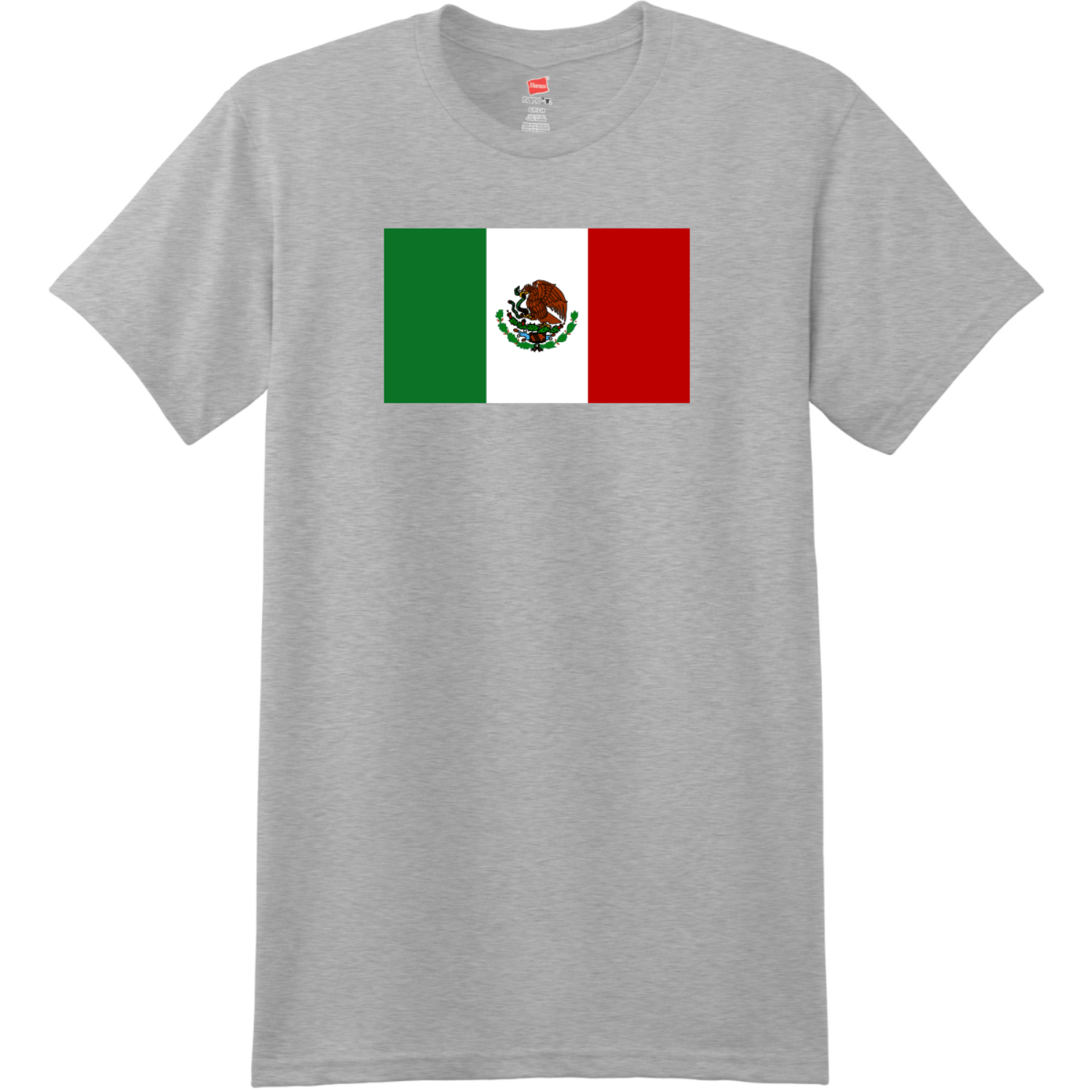 Mexico Flag T Shirt Light Steel Hanes Nano 4980 Ringspun Cotton T Shirt