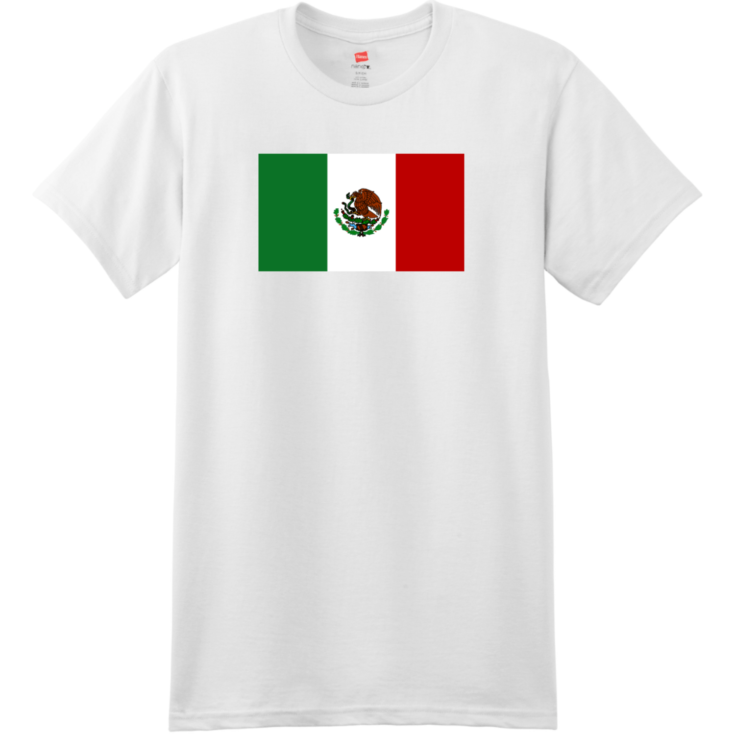 Mexico Flag T Shirt White Hanes Nano 4980 Ringspun Cotton T Shirt