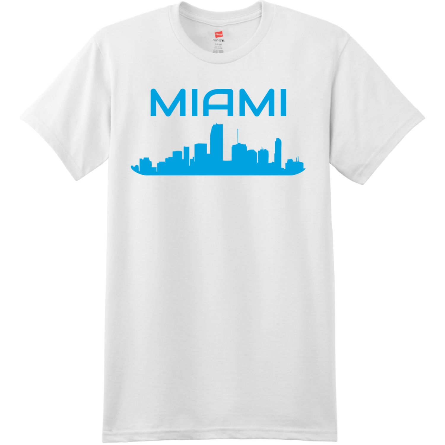 Miami Skyline T Shirt White Hanes Nano 4980 Ringspun Cotton T Shirt