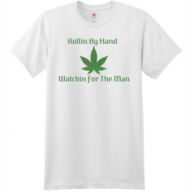 Rollin By Hand Weed T Shirt White Hanes Nano 4980 Ringspun Cotton T Shirt