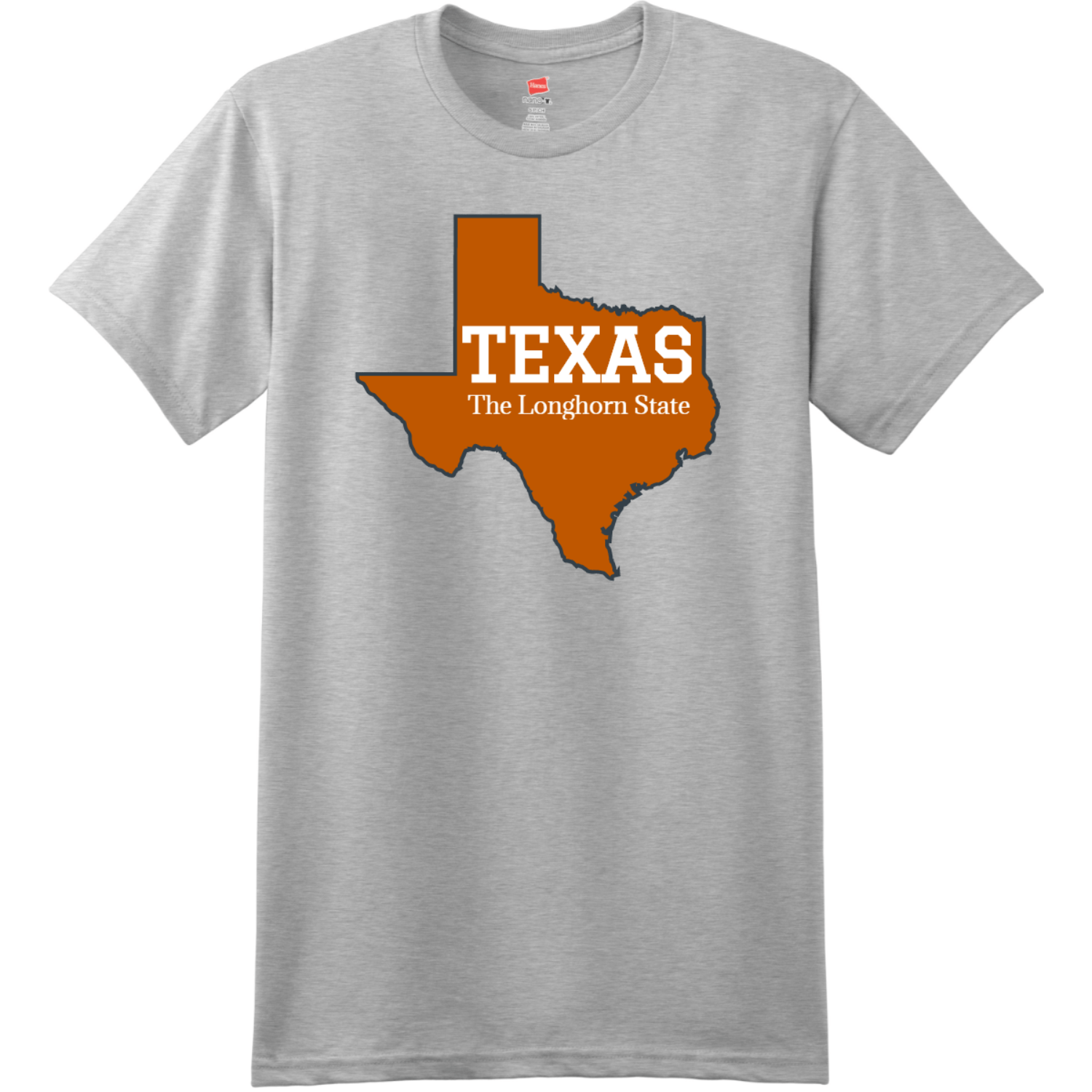 Texas The Longhorn State T Shirt Ash Hanes Nano 4980 Ringspun Cotton T Shirt