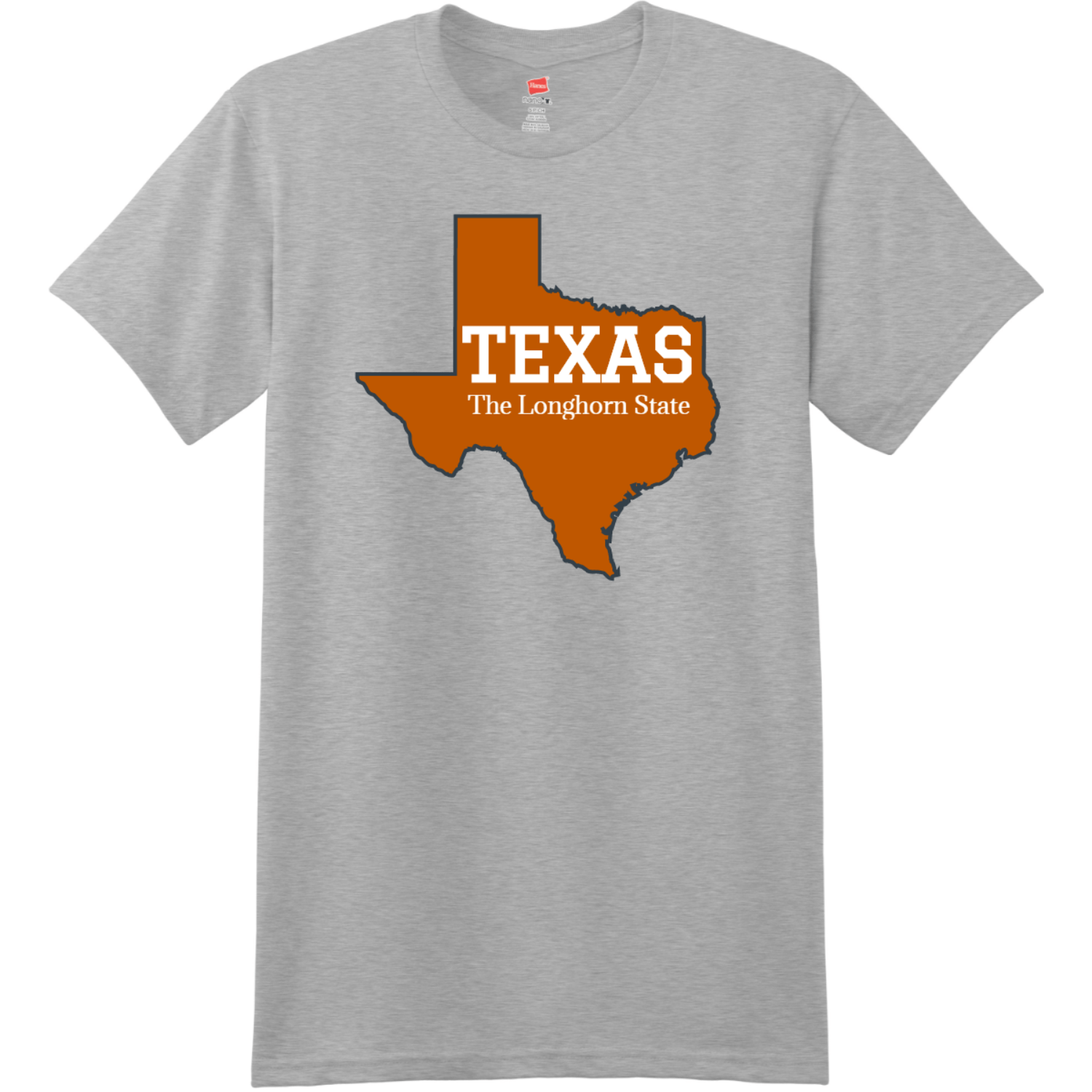 Texas The Longhorn State T Shirt Light Steel Hanes Nano 4980 Ringspun Cotton T Shirt