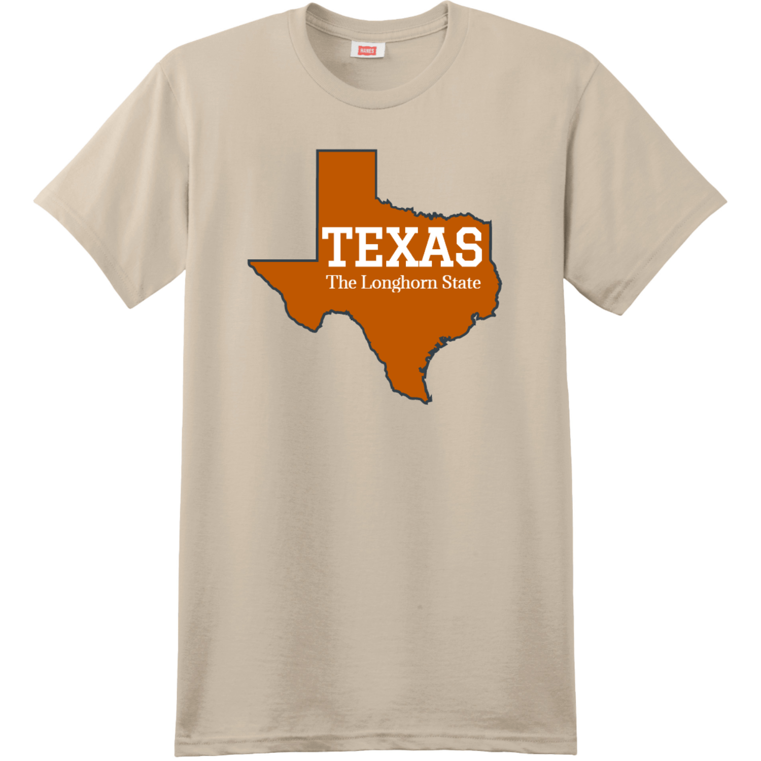 Texas The Longhorn State T Shirt Sand Hanes Nano 4980 Ringspun Cotton T Shirt