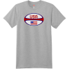 USA Rugby Ball T Shirt Light Steel Hanes Nano 4980 Ringspun Cotton T Shirt