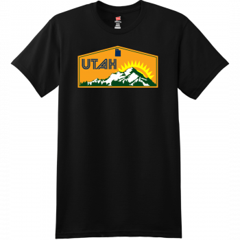 Utah Mountains Sunshine T Shirt Black Hanes Nano 4980 Ringspun Cotton T Shirt