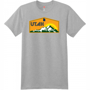 Utah Mountains Sunshine T Shirt Light Steel Hanes Nano 4980 Ringspun Cotton T Shirt