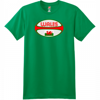 Wales Rugby Ball T Shirt Kelly Green Hanes Nano 4980 Ringspun Cotton T Shirt