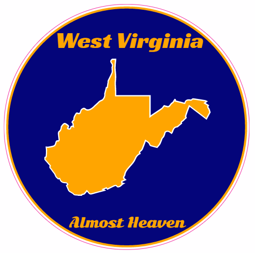 West Virginia Almost Heaven Blue Gold Circle Decal | U.S. Custom Stickers