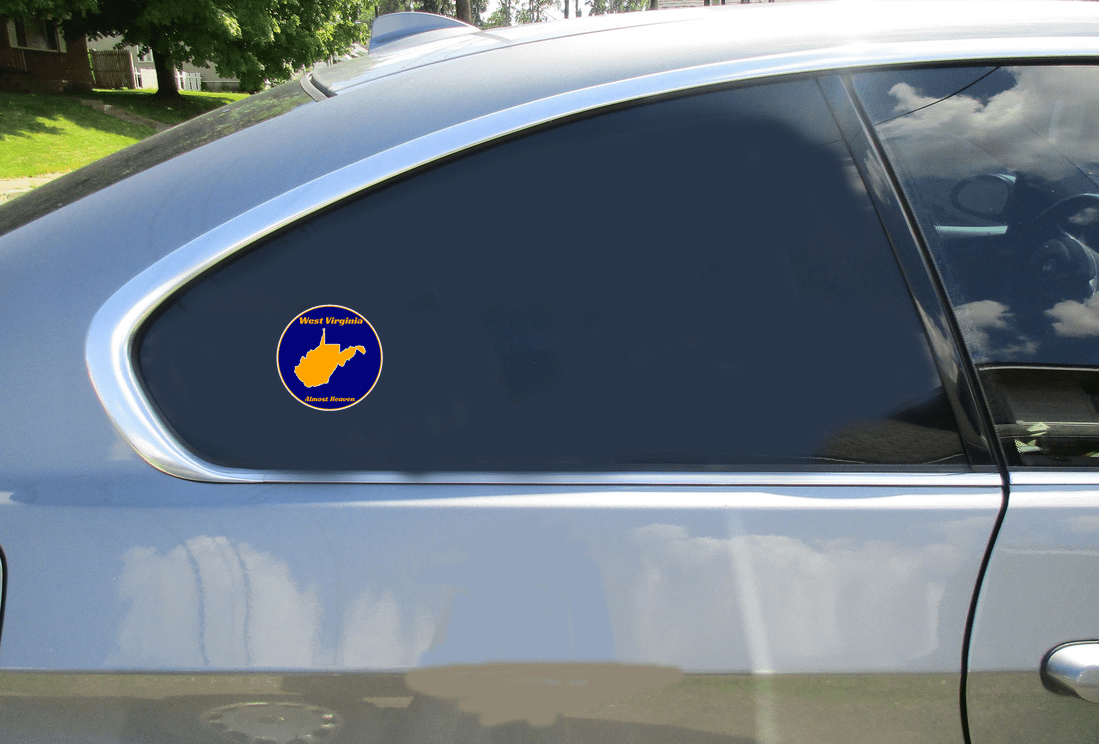 West Virginia Almost Heaven Blue Gold Circle Decal Car Sticker