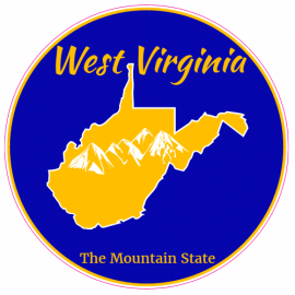 West Virginia The Mountain State Circle Decal | U.S. Custom Stickers