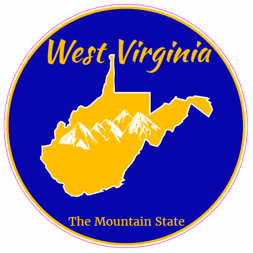 West Virginia The Mountain State Circle Decal   U.S. Custom Stickers