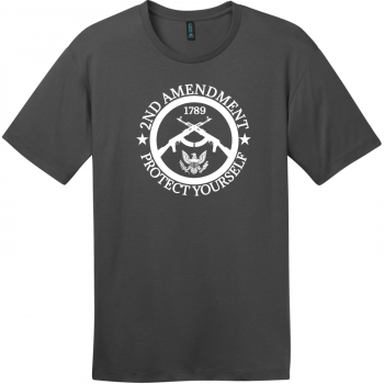 2nd Amendment Protect Yourself T-Shirt Charcoal District Perfect Weight Tee DT104