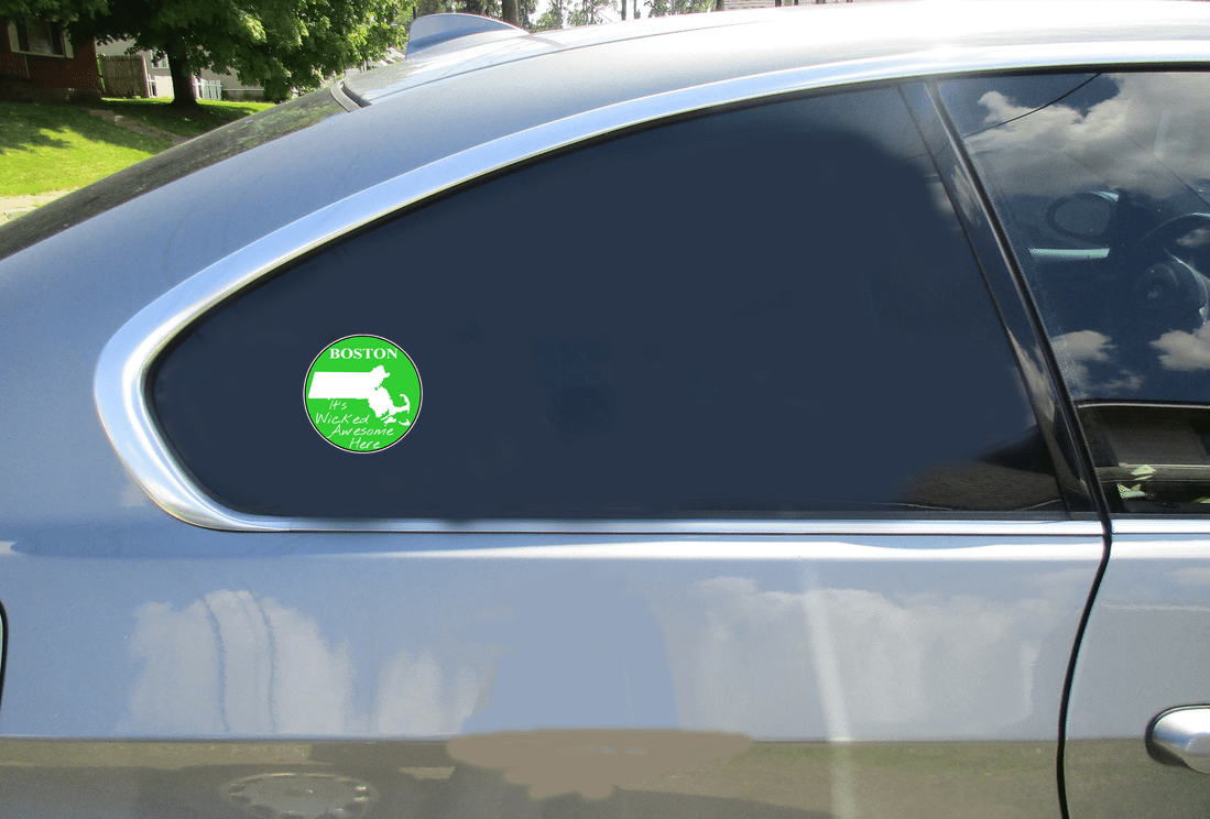 Boston Wicked Awesome Green Circle Decal Car Sticker