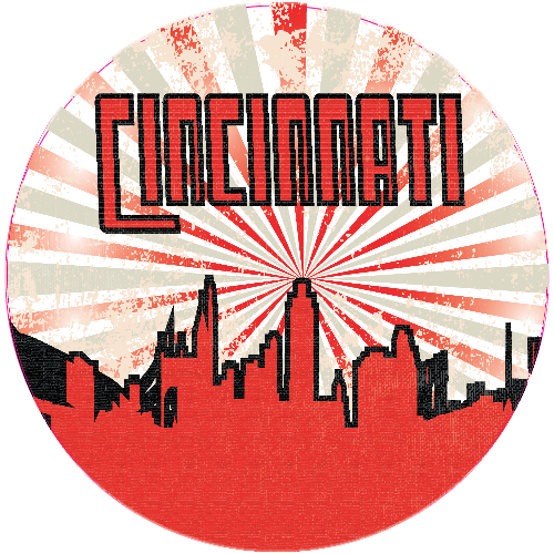 Cincinnati City Retro Vintage Sticker | U.S. Custom Stickers