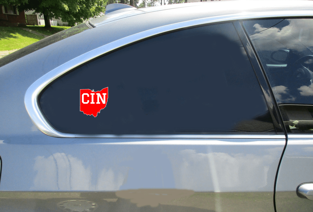 Cincinnati Ohio State Shaped Red Sticker Car Sticker