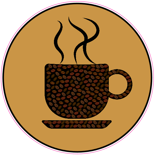 Coffee Bean Cup Sticker | U.S. Custom Stickers