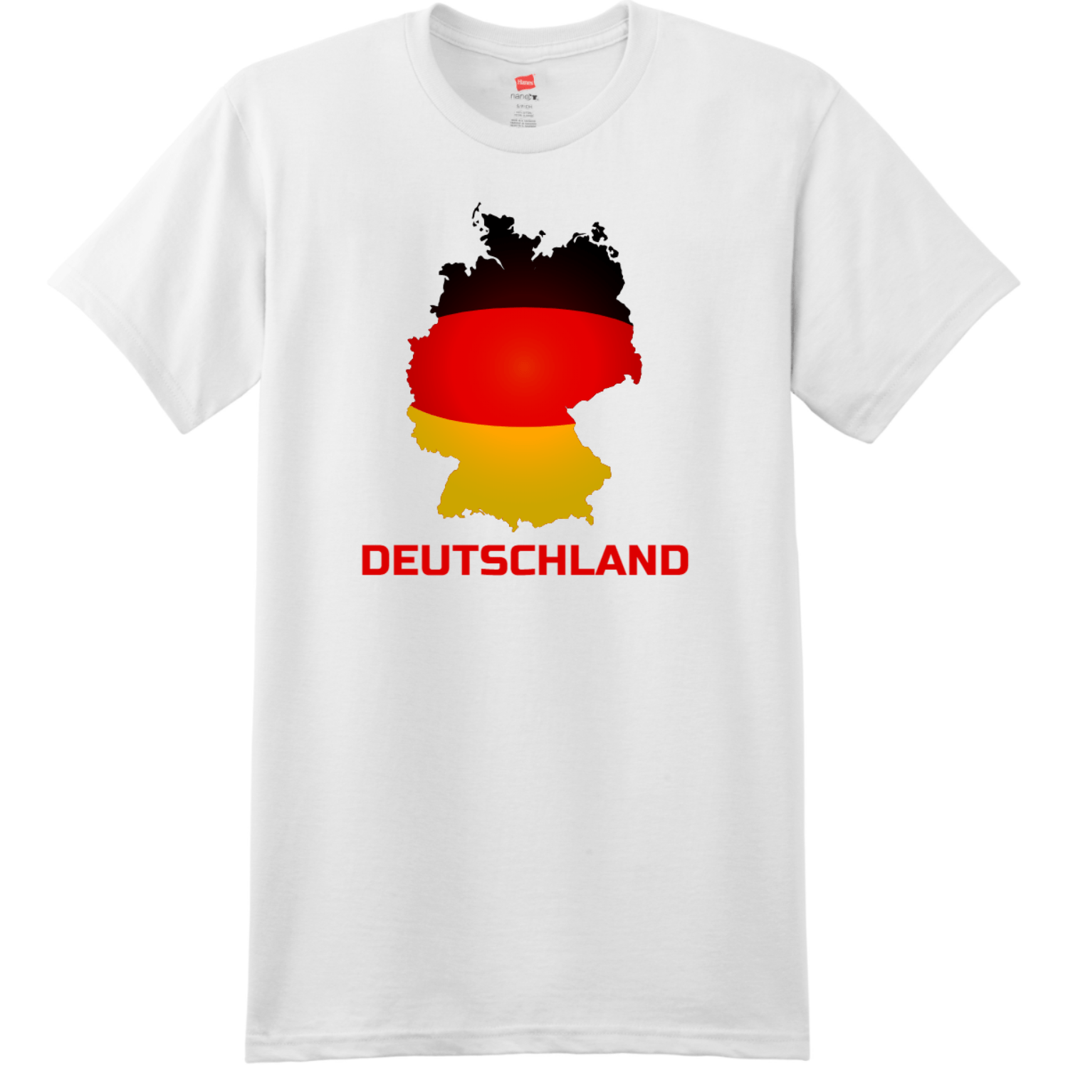 Deutschland Germany T-Shirt White Hanes Nano 4980 Ringspun Cotton T Shirt