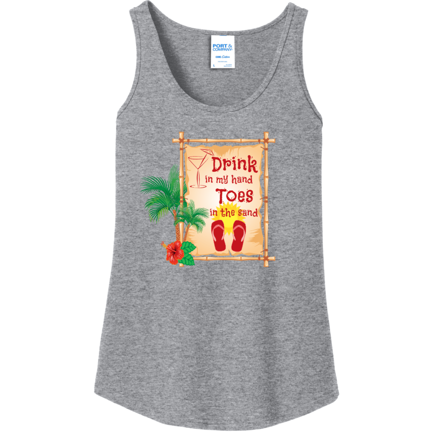 Drink In My Hand Toes In The Sand Tank Top Athletic Heather Port And Company Ladies Tank Top LPC54TT
