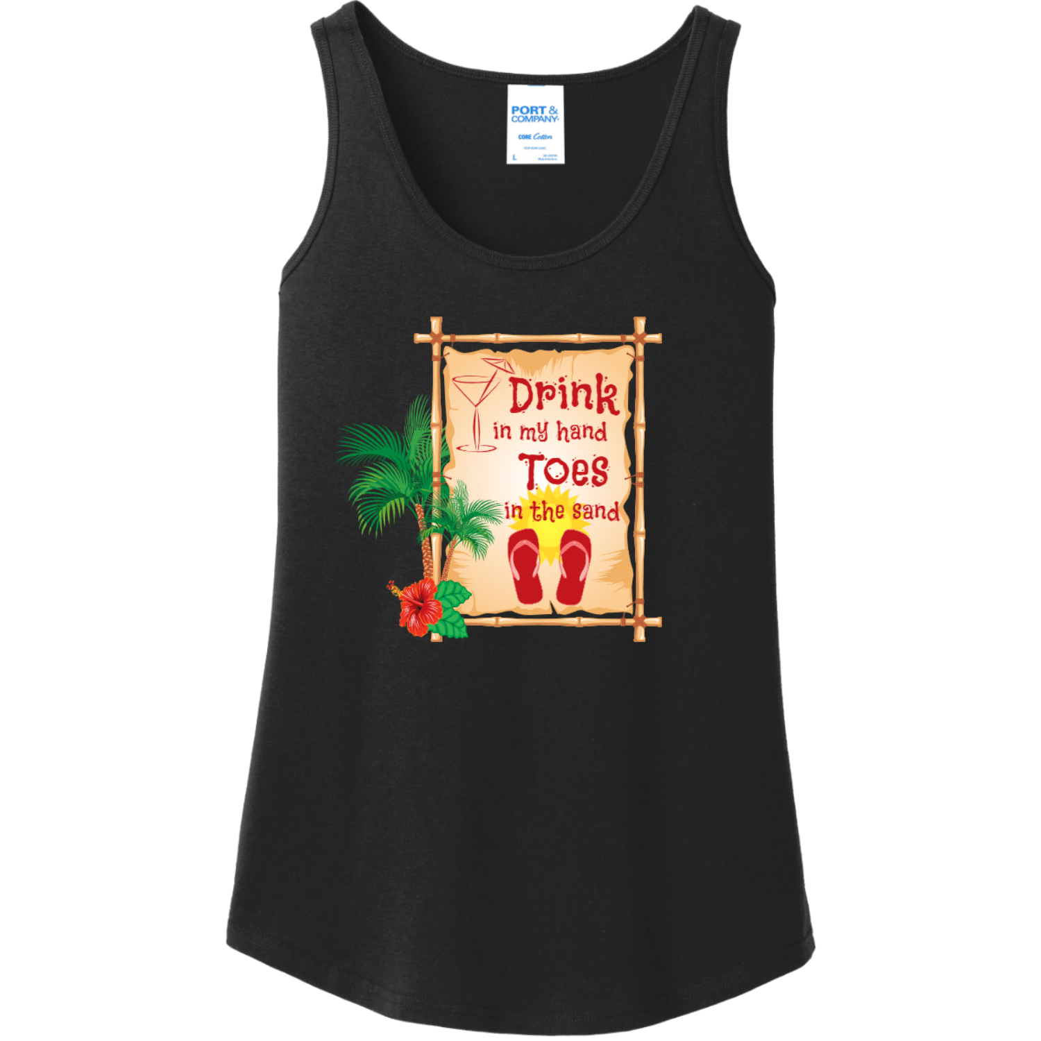 Drink In My Hand Toes In The Sand Tank Top Jet Black Port And Company Ladies Tank Top LPC54TT