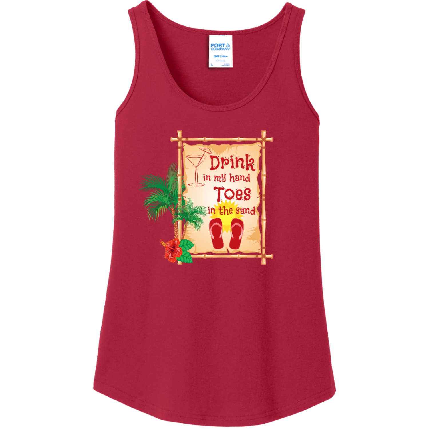 Drink In My Hand Toes In The Sand Tank Top Red Port And Company Ladies Tank Top LPC54TT