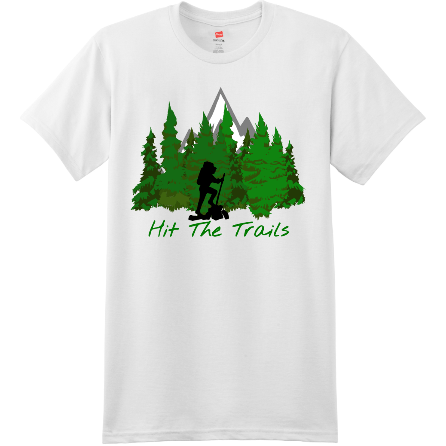 Hit The Trails T-Shirt White Hanes Nano 4980 Ringspun Cotton T Shirt
