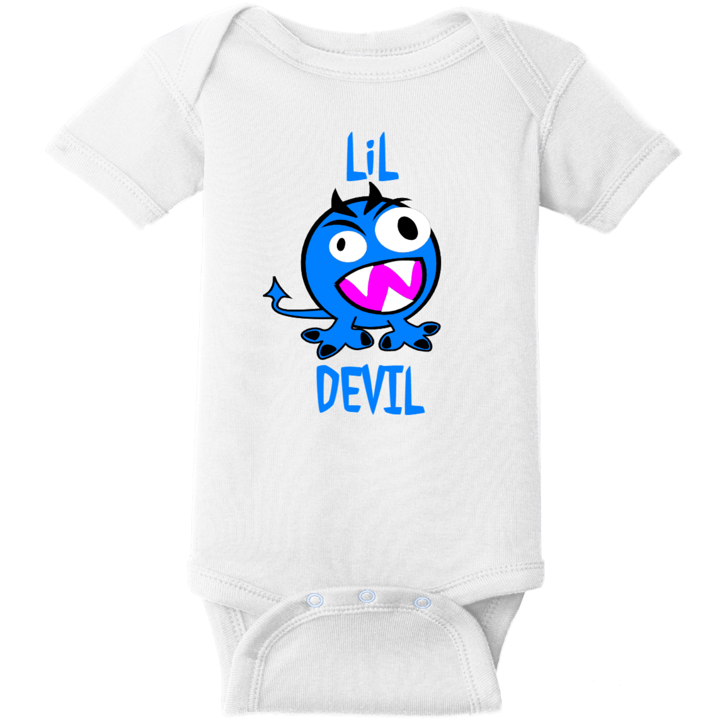 Lil Devil Monster Baby Bodysuit White Rabbit Skins Infant Short Sleeve Infant Rib Bodysuit RS4400