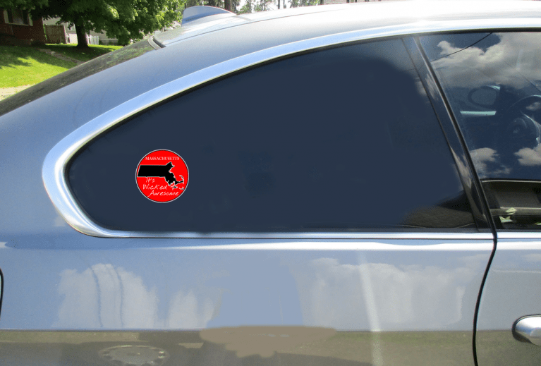 Massachusetts Wicked Awesome Red Circle Decal Car Sticker