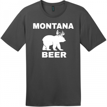 Montana Beer Deer Bear T-Shirt Charcoal District Perfect Weight Tee DT104
