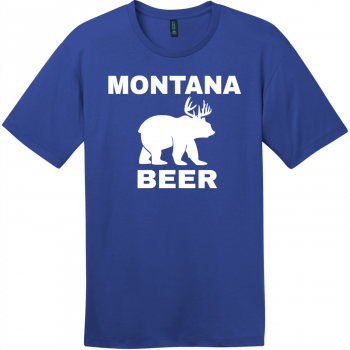 Montana Beer Deer Bear T-Shirt Deep Royal District Perfect Weight Tee DT104