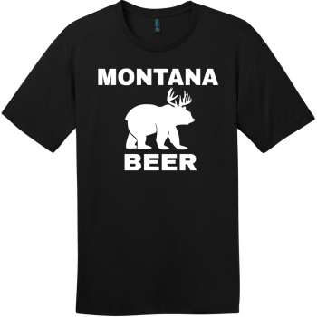 Montana Beer Deer Bear T-Shirt Jet Black District Perfect Weight Tee DT104