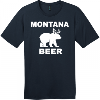 Montana Beer Deer Bear T-Shirt New Navy District Perfect Weight Tee DT104