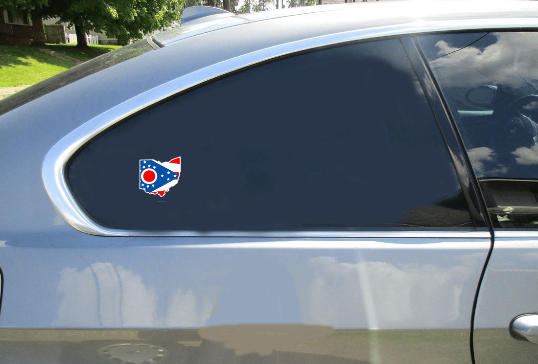 Ohio Flag State Shaped Sticker Car Sticker