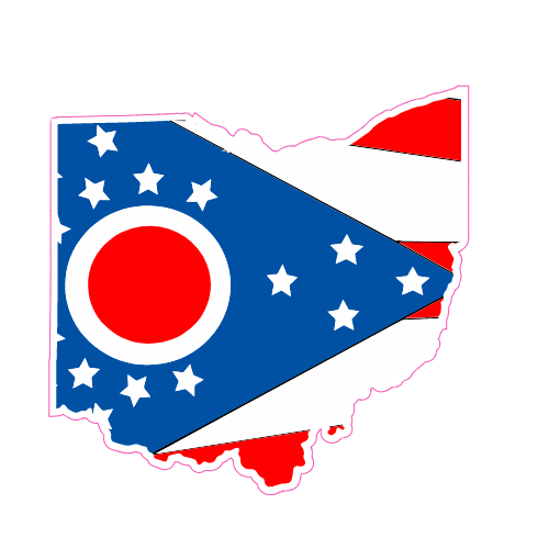 Ohio Flag State Shaped Sticker | U.S. Custom Stickers