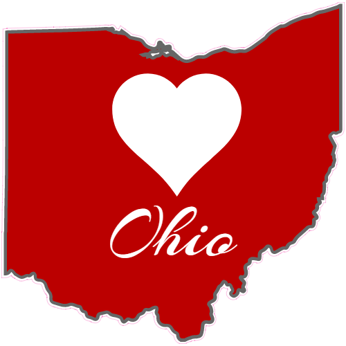 Ohio Heart State Shaped Sticker | U.S. Custom Stickers