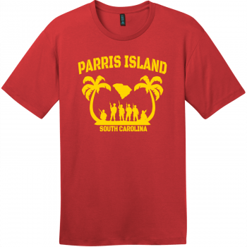 Parris Island South Carolina T-Shirt Classic Red District Perfect Weight Tee DT104