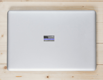 Police Blue Line Distressed Black Flag Sticker Laptop Sticker