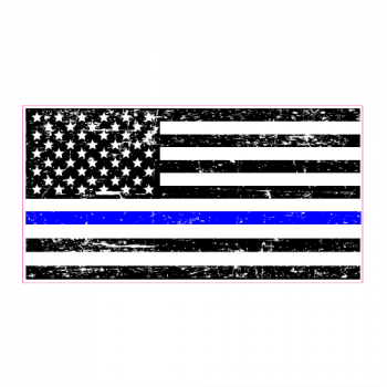 Police Blue Line Distressed Black Flag Sticker | U.S. Custom Stickers