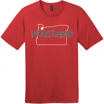 Portland Oregon State T-Shirt Classic Red District Perfect Weight Tee DT104