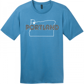 Portland Oregon State T-Shirt Clean Denim District Perfect Weight Tee DT104