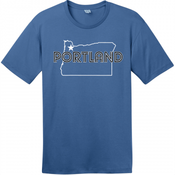 Portland Oregon State T-Shirt Maritime Blue District Perfect Weight Tee DT104
