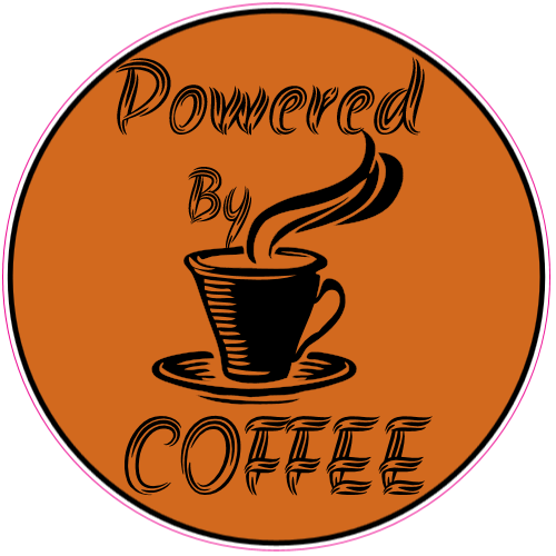 Powered By Coffee Circle Sticker | U.S. Custom Stickers