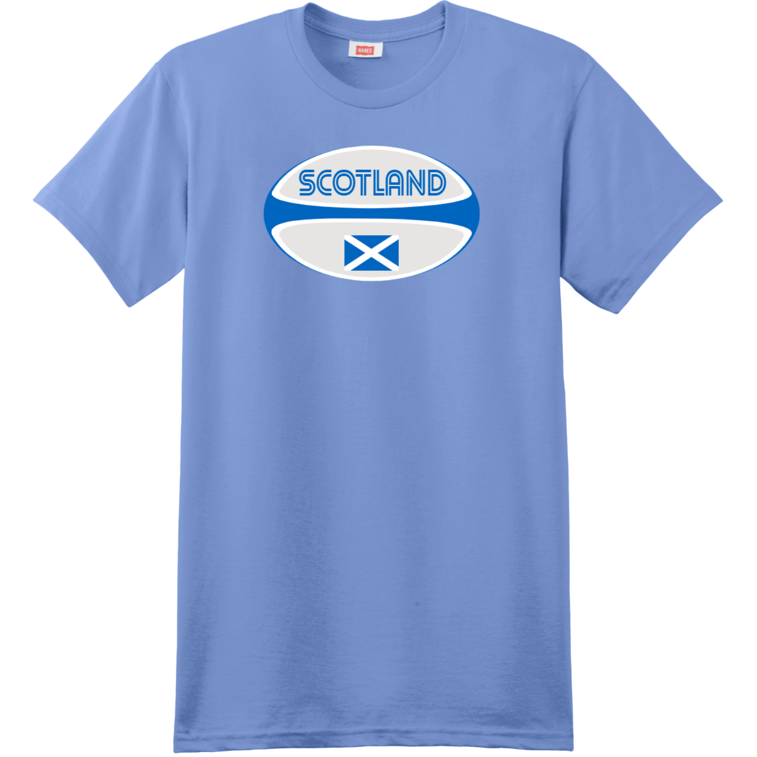 Scotland Rugby Ball T-Shirt Carolina Blue Hanes Nano 4980 Ringspun Cotton T Shirt