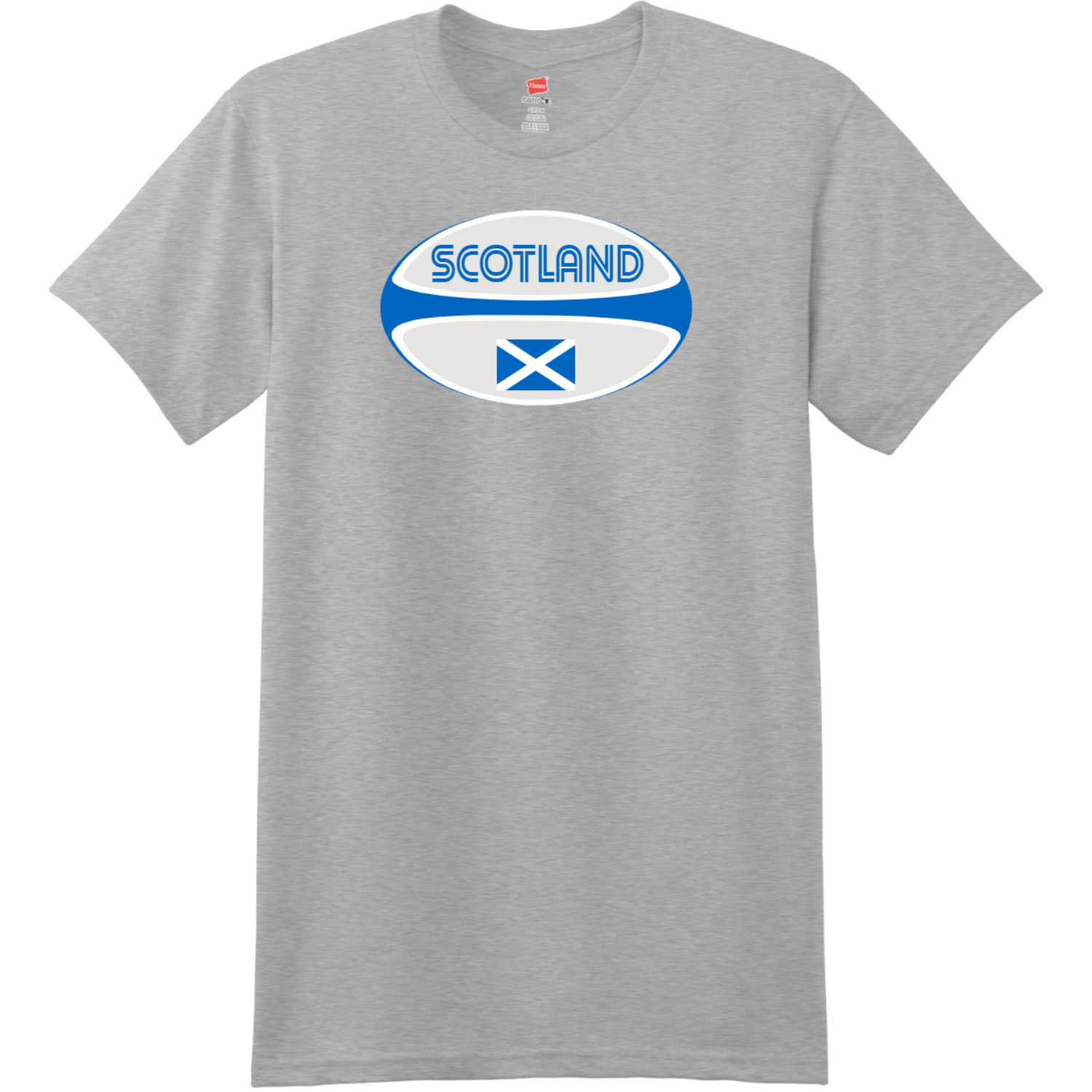 Scotland Rugby Ball T-Shirt Light Steel Hanes Nano 4980 Ringspun Cotton T Shirt
