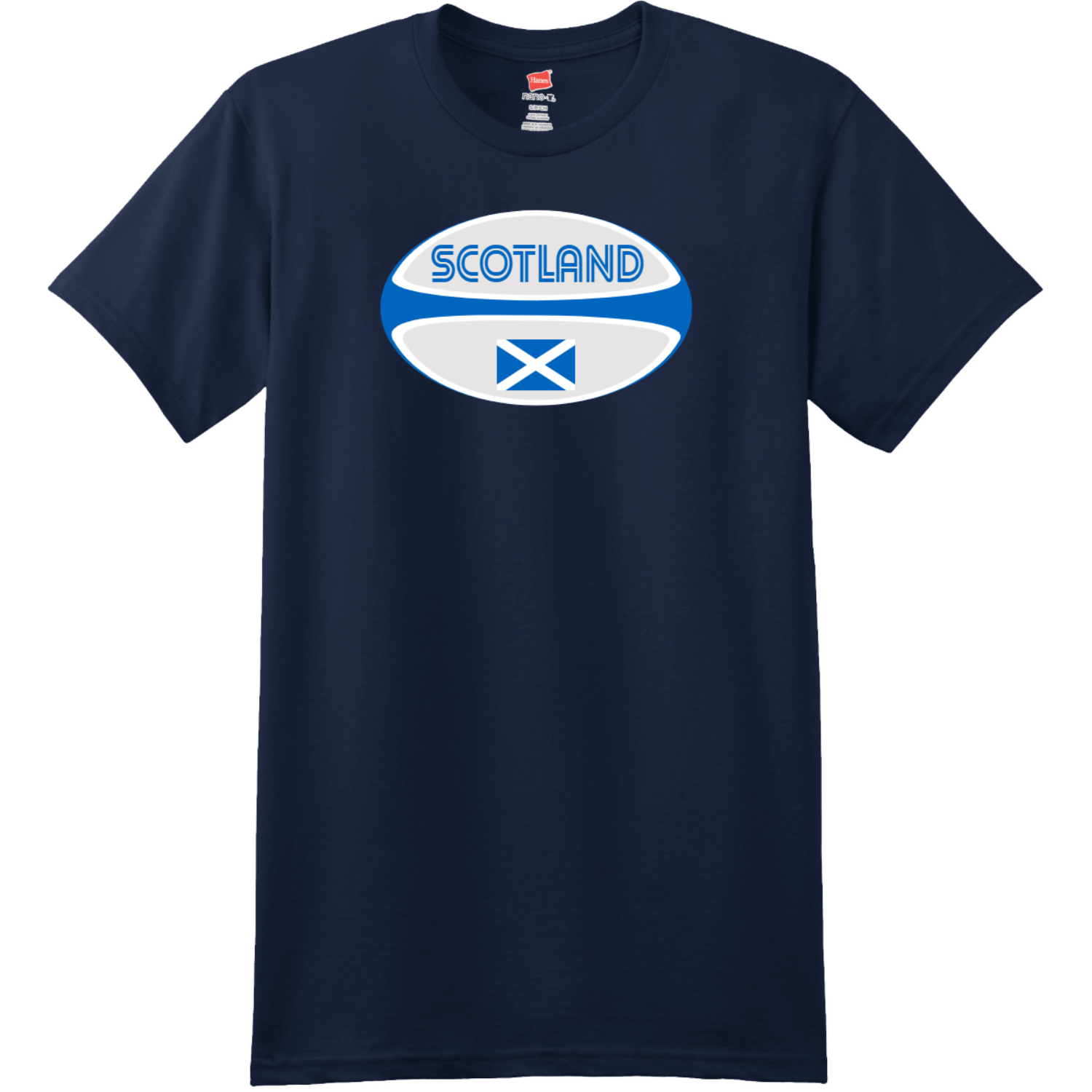 Scotland Rugby Ball T-Shirt Navy Hanes Nano 4980 Ringspun Cotton T Shirt