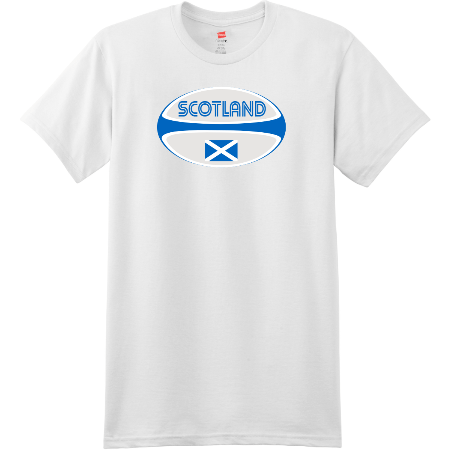 Scotland Rugby Ball T-Shirt White Hanes Nano 4980 Ringspun Cotton T Shirt