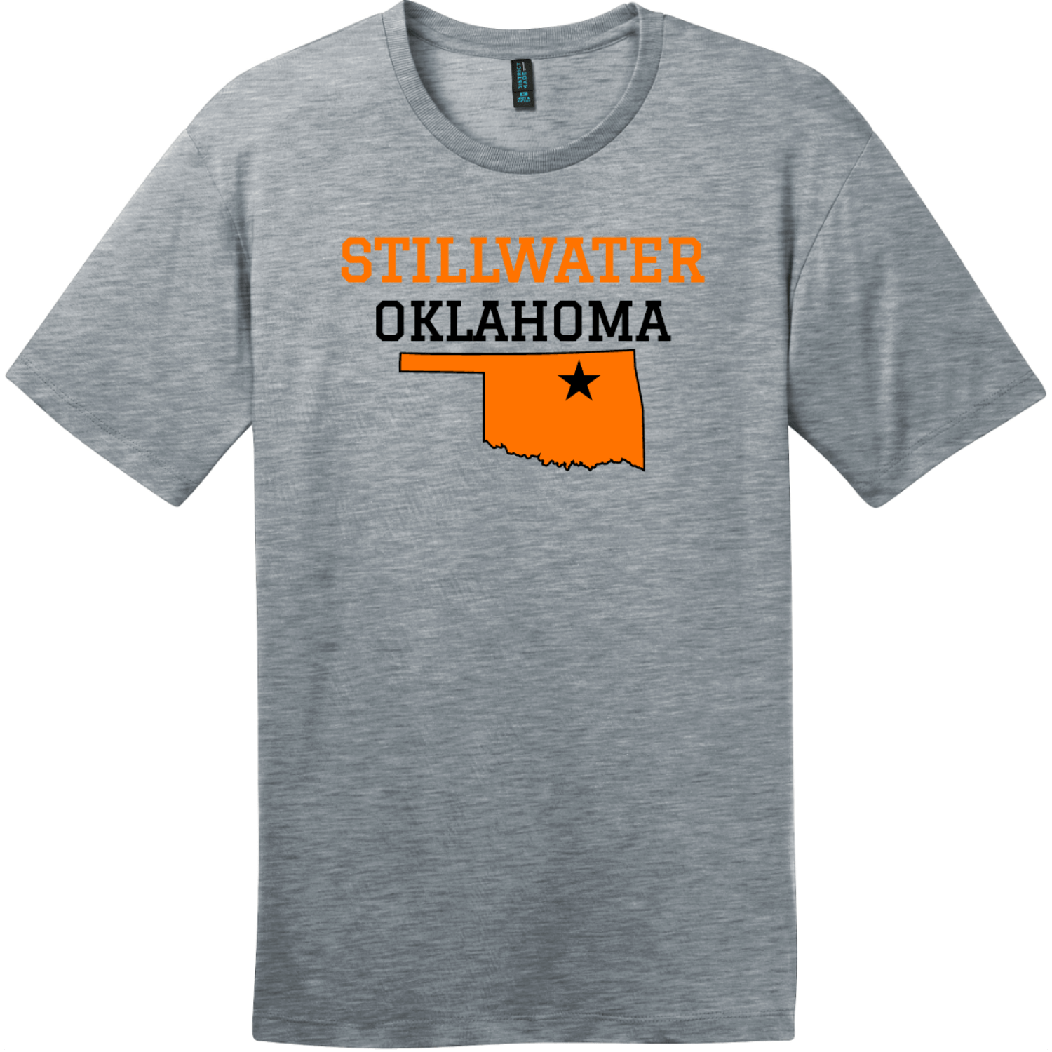 Stillwater Oklahoma T-Shirt Heathered Steel District Perfect Weight Tee DT104